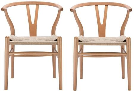"""EdgeMod Weave Collection 22"""" Set of 2 Arm Chairs with Curved Back, Cord Woven Seat, Tapered Legs and Solid Beech Wood Frame in"""