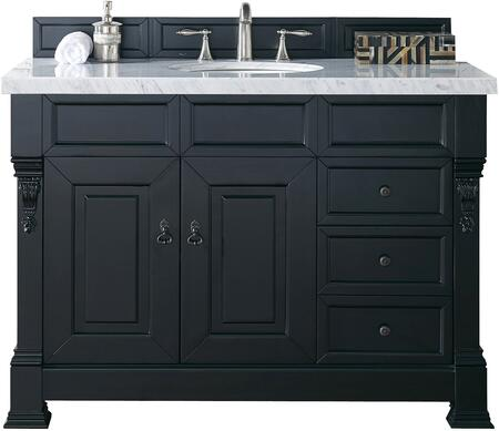 "James Martin Brookfield Collection 147-114-5236- 48"" Antique Black Single Vanity with Two Soft Closing Doors, Three Soft Closing Drawers, Backsplash, Hand Carved Filigrees and"