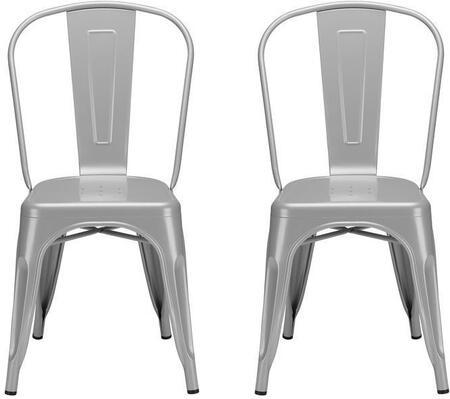 EdgeMod EM112POLX2 Trattoria Series Modern Metal Frame Dining Room Chair
