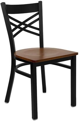 "Flash Furniture HERCULES Series XU-6FOBXBK-X-GG 17.25"" Black ""X"" Back Metal Restaurant Chair with Commercial Design, 18 Gauge Steel Frame, Plastic Floor Glides, and Welded Joint Assembly"