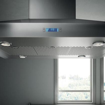 Elica ESL6 Aspire Series Salice Island Chimney Hood With Stainless Steel Micro Hole Filters, Multi Function Electronic Controls With LCD Display, And Heat Guard: Stainless Steel