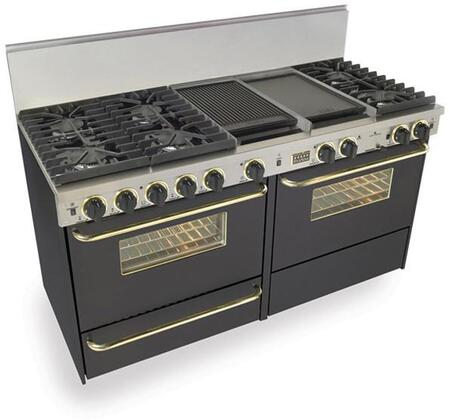 """FiveStar TPN6377SW 60"""" Dual Fuel Freestanding Range with Sealed Burner Cooktop, 3.69 cu. ft. Primary Oven Capacity, Broiler in Black with Brass"""
