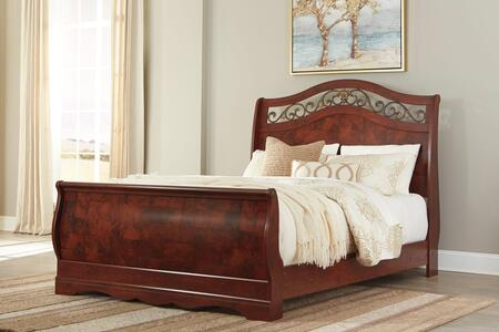 Signature Design by Ashley Delianna Collection B223SLEIGH X Size Sleigh Bed with Leaf Ornaments, Replicated Cherry Grain and Scalloped Footboard Base in Reddish Brown
