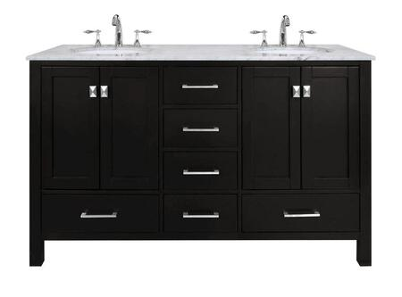 "Stufurhome Malibu GM-6412-60 60"" Double Sink Vanity with 6 Drawers, Italian Carrara White Marble Countertop and Brushed Nickel Hardware in"