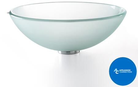 "Kraus CGV101FR1412MM1002 Singletone Series 14"" Round Vessel Sink with 12-mm Tempered Glass Construction, Easy-to-Clean Polished Surface, and Included Sheven Faucet, Frosted Glass"