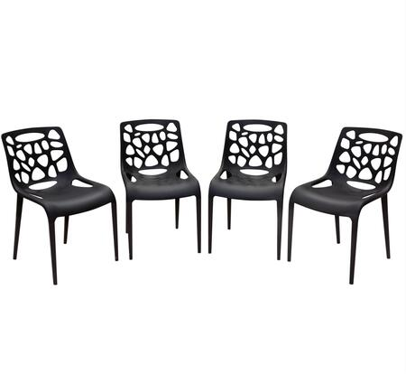 Diamond Sofa OCEANDC4PK Ocean Collection Accent Chair (Set of 4) with Polypropylene Construction, Stackable, Flaired Scoop Seat and Back, in