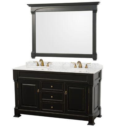 Wyndham Collection WCVTD60 Dual Vanity Set with Oak Hardwood, Porcelain Undermount Sinks, 3-Hole Faucet Mount, Backsplash, 2 Doors, 3 Drawers & Matching Mirror in