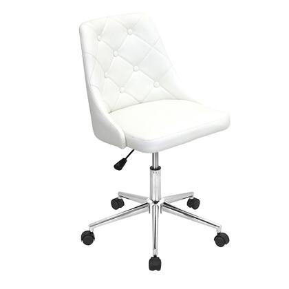 "LumiSource Marche OFC-MARCHE 31"" - 35"" Office Chair with Button-Tufted Backrest, PU Leather Upholstery and Chrome Base in"
