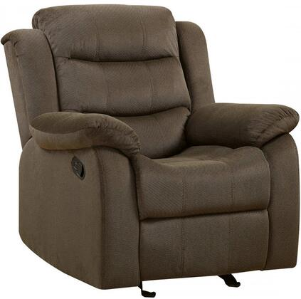 "Coaster Rodman 40"" Motion Armchair with Pillow Top Arms, Scoop Seating, Sinuous Spring Base, Pocket Coil Seating and Velvet Upholstery in"