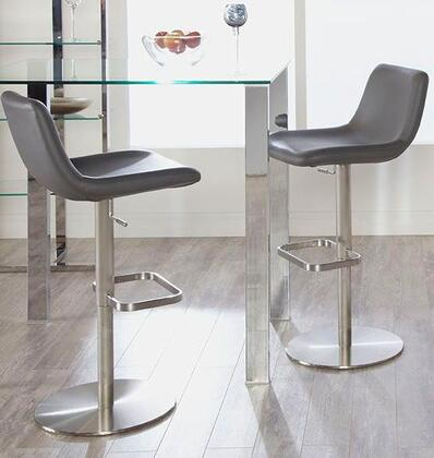 Euro Style 04366GRY Sierra Series Residential Faux Leather Upholstered Bar Stool