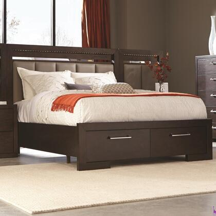 Coaster Berkshire Collection Storage Bed with 2 Drawers, LED Lighting, Full Extension Drawer Glides, Asian Hardwood and Red Oak Veneer Construction in Bitter Chocolate Finish