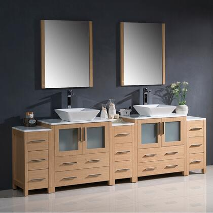 """Fresca Torino Collection FVN62-96XX-VSL 96"""" Modern Double Sink Bathroom Vanity with 3 Side Cabinets, 2 Vessel Sinks and 13 Soft Closing Drawers in"""