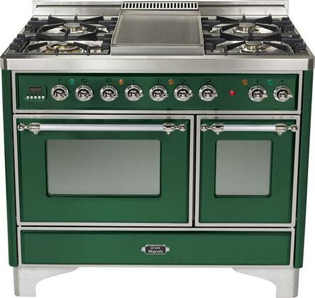 Ilve UMTD100FMPVS Majestic Techno Series Dual Fuel Freestanding Range with Sealed Burner Cooktop, 2.44 cu. ft. Primary Oven Capacity, Warming in Emerald Green