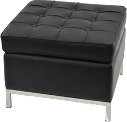 Fine Mod Imports FMI9287 Leather Button Ottoman With Stainless Steel Base, Top Grain 100% Italian Leather & In