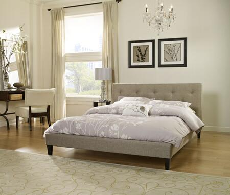 Rest Rite HC8924Ax X Size Tufted Upholstered Platform Bed with Traditional Style, Wood Construction and Tapered Legs in Linen