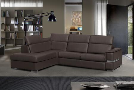 ESF Limo Collection I1086-X Sectional with Bonded Leather in Brown