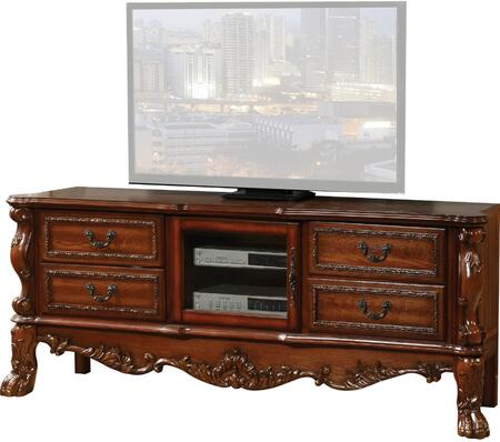 "Acme Furniture Dresden Collection 79"" TV Stand with 4 Drawers, Center Glass Door, Poly Resin Ornamental Details, Claw Legs, Antique Hand Brushed Accent, Aspen and Poplar Wood Construction in"