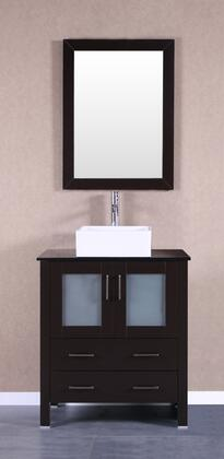 Bosconi Bosconi AB130CBEBGX Single Vanity with Soft Closing Doors , Drawers,Glass Top, Faucet, Mirror in Espresso and White Vessel Square Ceramic Sink