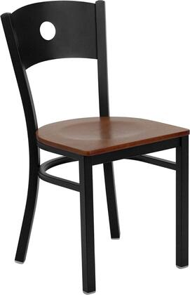 """Flash Furniture HERCULES Series XU-DG-60119-CIR-XXW-GG 18"""" Heavy Duty Circle Back Metal Restaurant Chair with Wood Seat, Commercial Design, 18 Gauge Steel Frame, and Plastic Floor Glides"""