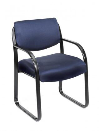 "Boss B9521 35"" Guest Chair with Curved Arms, Black Scratch Resistant Steel Frame, and Thick Contoured Cushions"