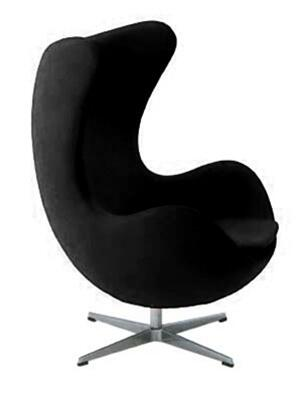 Fine Mod Imports FMI1129BLACK Inner Series Armchair/Lounge Fabric: 100% Wool Molded Fiberglass Frame Accent Chair