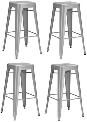 EdgeMod EM126GRYX4 Trattoria Series Commercial Not Upholstered Bar Stool