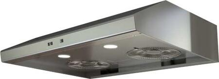 "Zephyr AK6536Bx 36"" Essentials Power Series Cyclone Under Cabinet Range Hood with 600 CFM, 5 Sones, 2 Halogen Lighting, Self Cleaning, 3 Fan Speeds and Self Cleaning, in"
