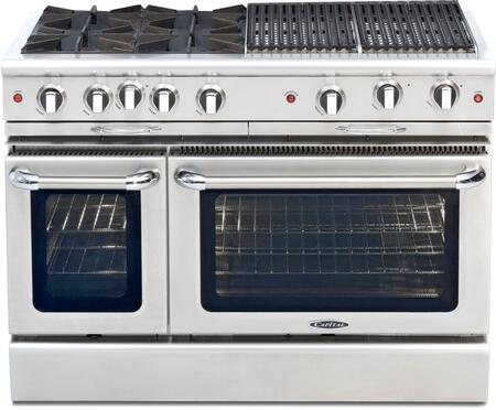 """Capital CGSR484BBN 48"""" Culinarian Series Gas Freestanding Range with Open Burner Cooktop, 4.6 cu. ft. Primary Oven Capacity, in Stainless Steel"""