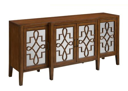 "Coast to Coast 7075X 72"" Credenza with Tapered Legs, Four Mirrored Doors and Latticework in"