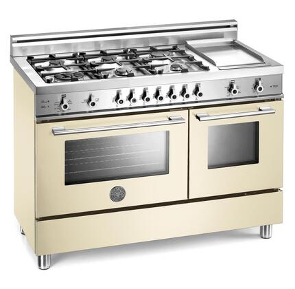 Bertazzoni X486GGGVCR Professional Series Natural Gas Freestanding Range with Sealed Burner Cooktop, 2.9 cu. ft. Primary Oven Capacity, Storage in Cream