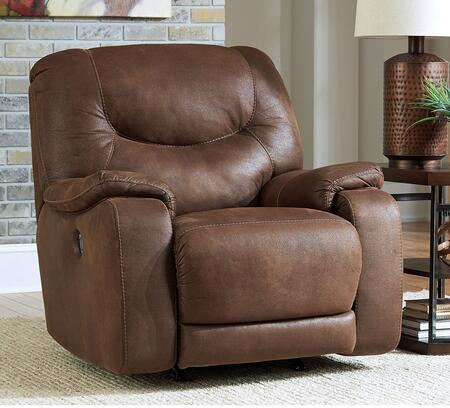 Benchcraft Longview 83601REC Rocker Recliner with Jumbo Stitching Details, Supportive Divided Back Cushion and Padded Arms in Brown