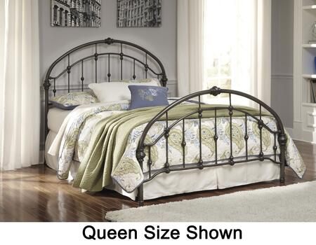 Milo Italia Knight BR-430-18 Metal Bed with Arched Headboard, Arched Footboard, Rails and Turned Accents in Bronze Finish