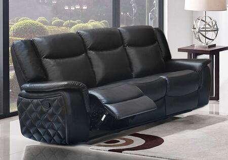 """Meridian Carly 628-S 83"""" Glider Reclining Sofa with Top Quality Leather Upholstery, Unique Quilt Design on Sides and Removable Backs in"""