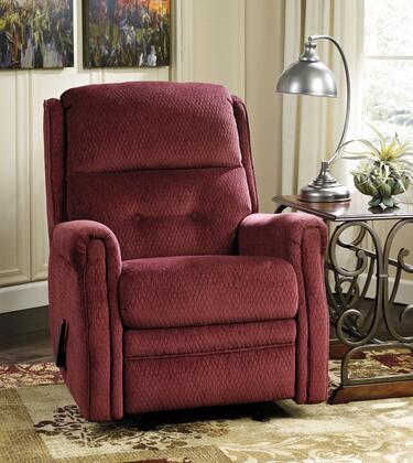 Signature Design by Ashley Meadowbark 8640X27 Glider Recliner with Divided Back Design, Textured Fabric Upholstery and Button Tuft Details in