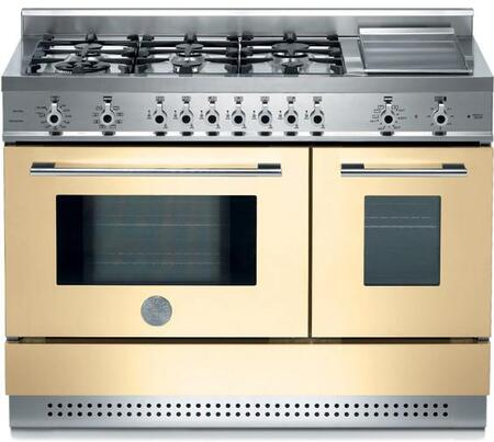 Bertazzoni X486GPIRCR Professional Series Dual Fuel Freestanding Range with Sealed Burner Cooktop, 2.9 cu. ft. Primary Oven Capacity, in Cream