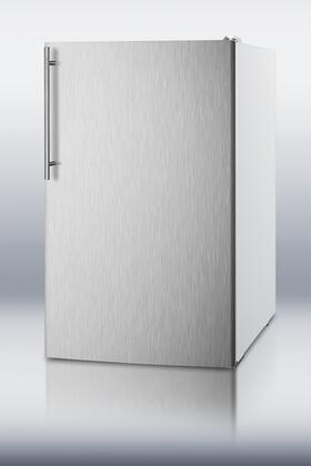 Summit CM4057SSHVADA Commercial Series Freestanding Counter Depth Compact Refrigerator with 4.1 cu. ft. Capacity, 2 Wire ShelvesField Reversible Doors