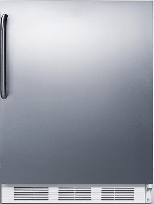 "AccuCold FF7 24"" FF7BI Series Medical, Commercially Approved Freestanding or Built In Compact Refrigerator with 5.5 cu. ft. Capacity, Hidden Evaporator and Auto Defrost: Complete Stainless Steel Exterior"