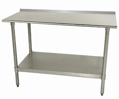 Advance Tabco TTF-24 Lite Series Work Table with Galvanized Steel Undershelf and Legs, Backsplash and Plastic Bullet Feet