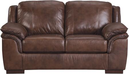 """Signature Design by Ashley Islebrook Collection 70"""" Loveseat with Jumbo Stitching, Double Pillow Top Arms, Hardwood Construction and Leather Upholstery in"""