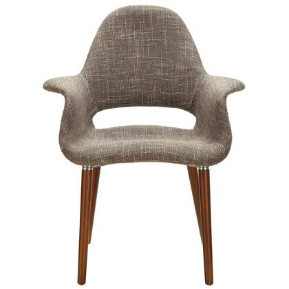 "Modway Aegis Collection 28"" Dining Armchair with High Back, Medium Brown Beechwood Legs and Twill Fabric Upholstery in"