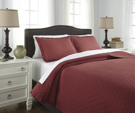 Signature Design by Ashley Alecio 3 PC Queen Size Quilt Set includes 1 Quilt Set and 2 Standard Shams with Stone Washed Diamond Quilted Design and 200 Thread Count Cotton Material in Color