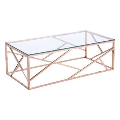 """Zuo 1001A Cage 47"""" Coffee Table with Slim Angled Strip Designs, and Clear Tempered Glass Top in Polished Stainless Steel"""