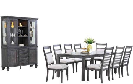 Sunset Trading DLUEL9282C90BH11PC Shades of Gray Dining Room
