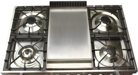 """Hallman HGR3602DF 36"""" Dual Fuel Range with 5 Sealed Burners, 3.55 cu. ft. Capacity True Convection Oven, Griddle, in"""