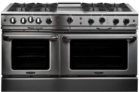 "Capital CGSR604G4N 60"" Culinarian Series Gas Freestanding Range with Open Burner Cooktop, 4.6 cu. ft. Primary Oven Capacity, in Stainless Steel"