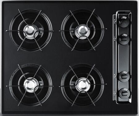 Summit TNL0 Natural Gas Cooktop with Four 9000 BTU Open Burners, Porcelain Enameled Steel Grates, Recessed Top, Porcelain Cooking Surface, Dial Burner Temperature Control, and in Black