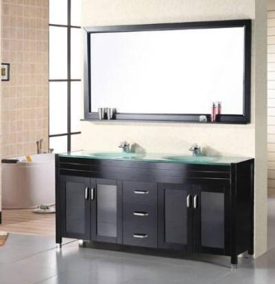 """Design Element DEC016 Waterfall 72"""" Double Sink Vanity Set"""