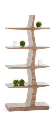 VIG Furniture VGBB1404WAL Modrest Timber Series Veneers 5 Shelves Bookcase