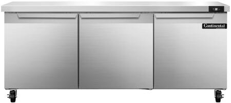"Continental Refrigerator SW7 72"" Worktop Refrigerator with 3 Doors, 20.6 Cu. Ft. Storage Capacity, Stainless Steel Exterior and Interior, 5"" Casters, Interior Hanging Thermometer, and R134-a Refrigerant, in Stainless Steel"