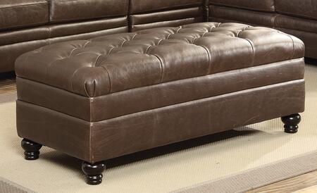 Coaster 500269 Roy Series Traditional Leather Match Wood Frame Ottoman